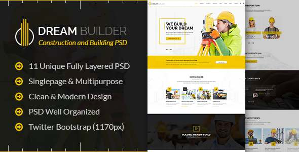 Dream Builder - Construction and Building PSD Template            TFx