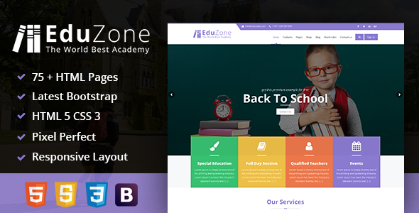 EduZone : An Education, Learning Cources & Institute/College Mobile Responsive Html Template            TFx