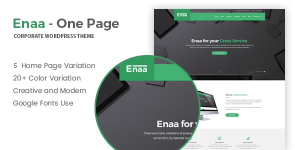 Enaa - One Page Corporate WordPress Theme            TFx