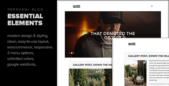 Essential Elements - Creative WordPress theme for writers and bloggers            TFx