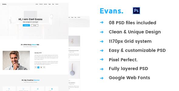 Evans – Minimal Personal Portfolio PSD Template            TFx