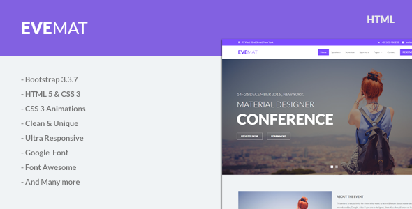 EveMat | Responsive HTML Event Template            TFx