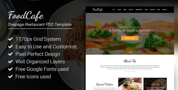 FoodCafe - Onepage Restaurant PSD Template            TFx