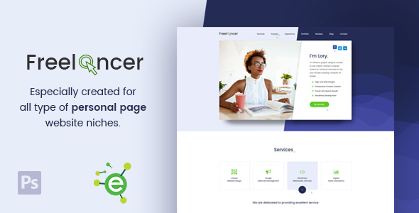 Freelancer - Creative Business & Portfolio Personal Page PSD Template            TFx