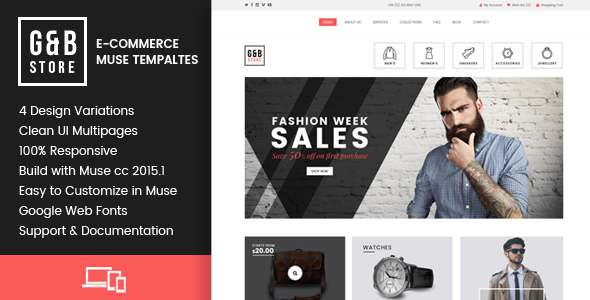 GB STORE - E-Commerce Muse Templates            TFx