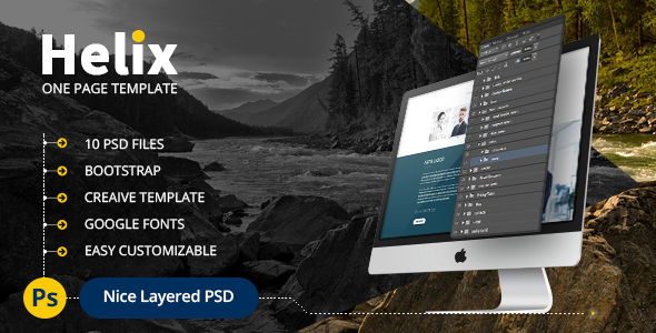 Helix - One Page Corporate, Multipurpose Business PSD Template for Professionals            TFx