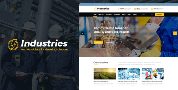 Industries - Factory, Engineering Company, Industrial Business WordPress Theme            TFx