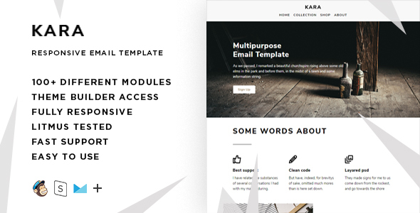 Kara – 100+ Modules – Responsive Email + StampReady Builder & Mailchimp Editor            TFx