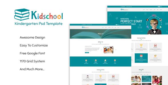 Kidschool - Kindergarten School PSD Template            TFx