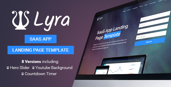 Lyra - SaaS App Landing Page Template            TFx
