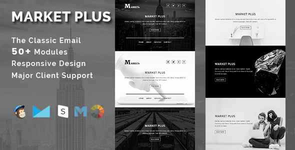 MARKET PLUS - Multipurpose Responsive Email Template With Stamp Ready Builder Access            TFx