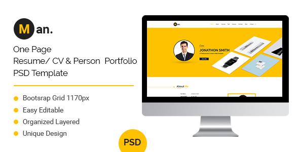 Man – One Page Resume/ CV & Personal Portfolio PSD Template            TFx