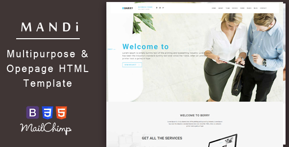 Mandi – Onepage and Multipage Responsive Creative , Corporate, Business & Portfolio Template            TFx
