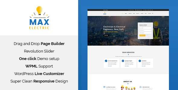Max Electric - Electrician WordPress Theme            TFx