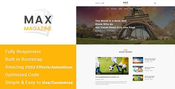 Max Magazine - News & Blog HTML Template            TFx