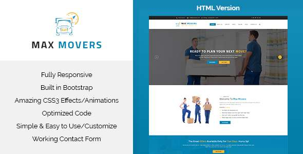 Max Movers - Transport & Movers HTML Template            TFx
