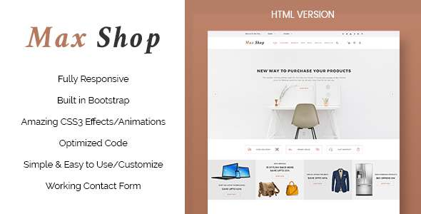 Max Shop – Ecommerce HTML Template            TFx
