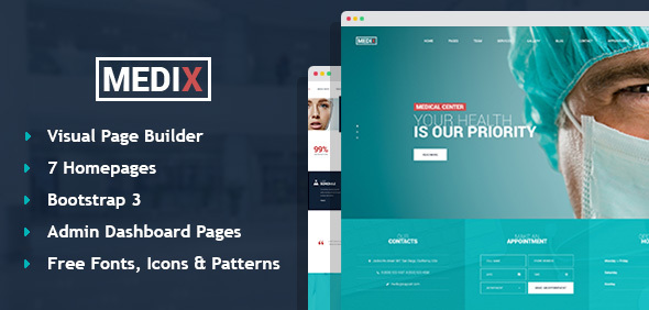 Medix - Medical Clinic HTML Template with Builder and Dashboard Pages            TFx