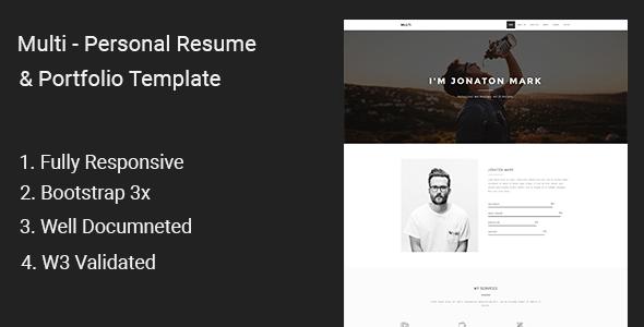 Multi - Personal Resume & Portfolio Template            TFx