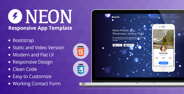 Neon Responsive App Landing Page            TFx