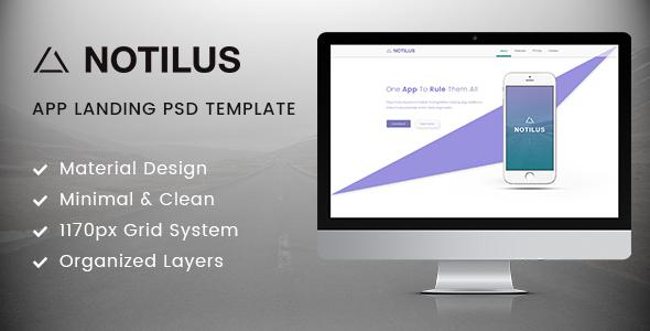 Notilus - Material App Landing PSD Template            TFx