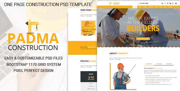PADMA - One Page Construction PSD Template            TFx