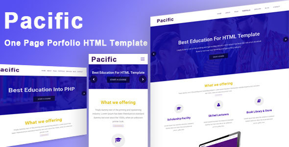 Pacific- One Page Portfolio HTML Template            TFx