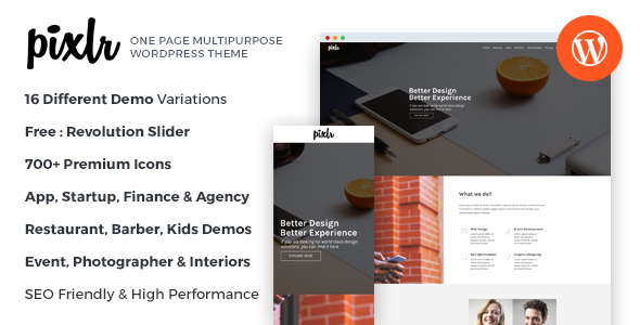 Pixlr - Premium One Page Multipurpose WordPress Theme            TFx