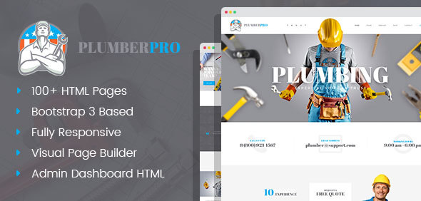 PlumberPro – Handyman/Plumber Service HTML Template with Visual Page Builder and Dashboard Pages            TFx