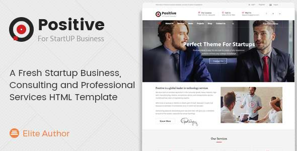 Positive - A Fresh Startup Business, Consulting and Professional Services HTML Template            TFx
