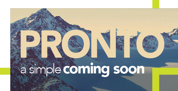 Pronto - A Simple Coming Soon            TFx