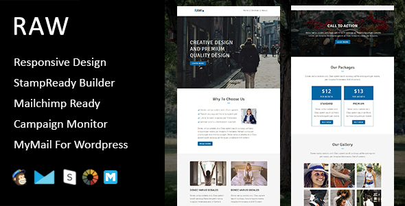 Raw - Multipurpose Responsive Email Template + Stampready Builder            TFx