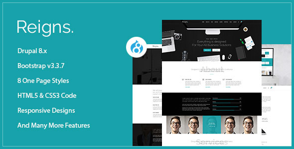 Reigns – Professional One Page Drupal 8 Theme            TFx