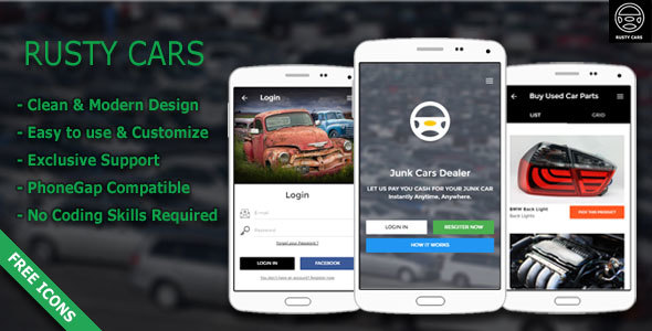Rusty Cars | Search Junk Cars & Used Parts - Responsive Mobile Template            TFx