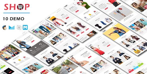 SHOP - Responsive Shopping Email Pack with Stamp Ready Builder Access            TFx