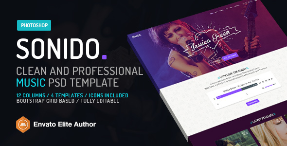 SONIDO. Clean and professional music Photoshop template.            TFx