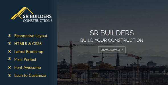 SR Construction - Construction Business HTML5 Responsive Template            TFx