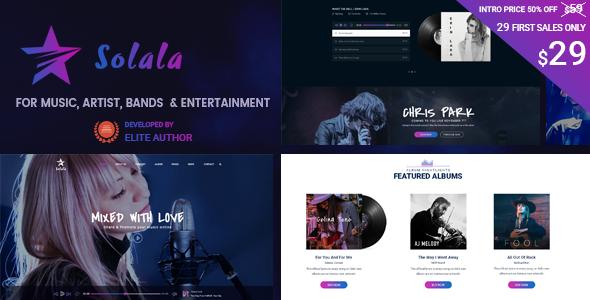 Solala Music WP | Music WordPress Theme (Artist, Band, Concert, Audio, Fansite)            TFx