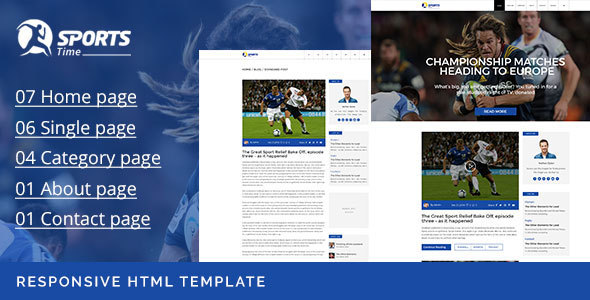 Sports Time – Responsive Blog HTML Template            TFx