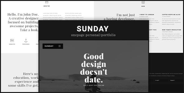 Sunday Onepage Personal/Portfolio WordPress Theme            TFx