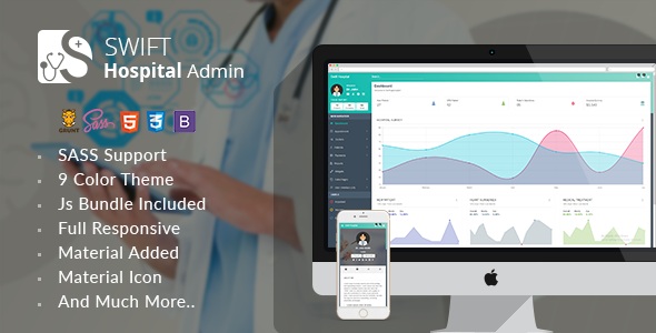 Swift Hospital - Responsive Material Admin for Doctors & Hospitals            TFx