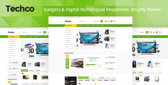 Techco - Gadgets & Digital Multilingual Responsive Shopify Theme            TFx