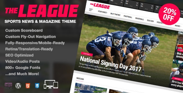 The League - Sports News & Magazine WordPress Theme            TFx
