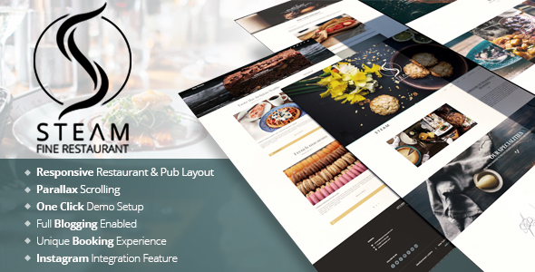 The Steam - Restaurant, Pub & Cafe WordPress Template            TFx