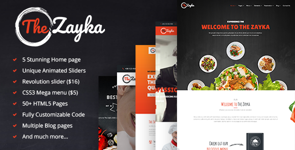 The Zayka – Multipurpose Restaurant, Food & Cafe HTML5 Template            TFx