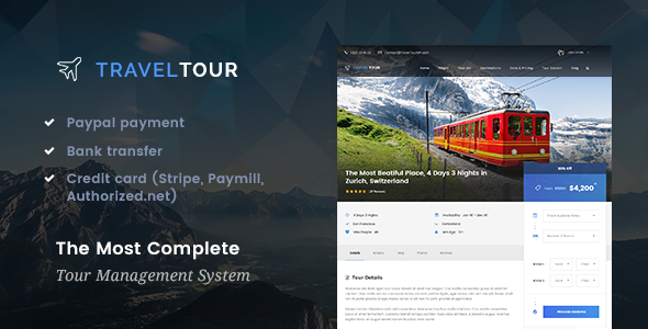 Travel Tour - Travel & Tour Management System WordPress Theme            TFx