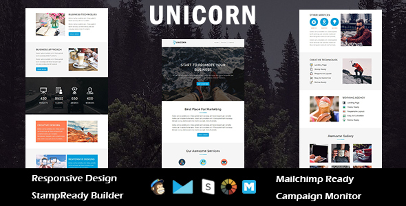 UNICORN – Multipurpose Responsive Email Template + Stampready Builder            TFx