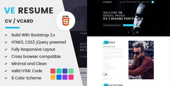 VE RESUME - CV / Resume & Portfolio HTML5 Template            TFx