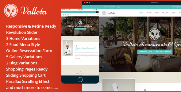Valleta-Bootstrap Food & Restaurants HTML Template            TFx