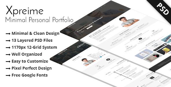 Xpreime - Minimal Personal Portfolio PSD Template.            TFx